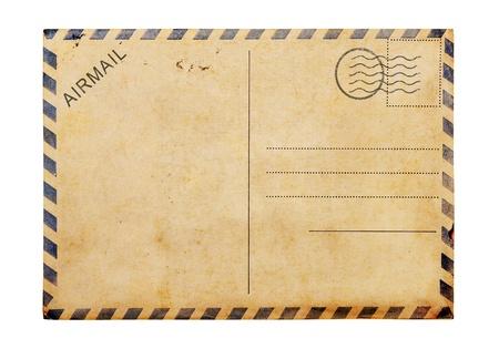 Vieux carte vierge poste fond blanc, chemin de détourage.