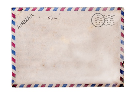 vintage envelope: Old blank post card white background, clipping path. Stock Photo