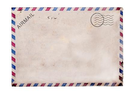 Oude lege post kaart witte achtergrond, het knippen weg. Stockfoto