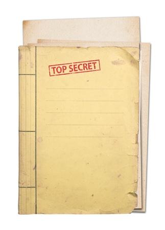 folder: carpeta secreta superior aislada, trazado de recorte Foto de archivo
