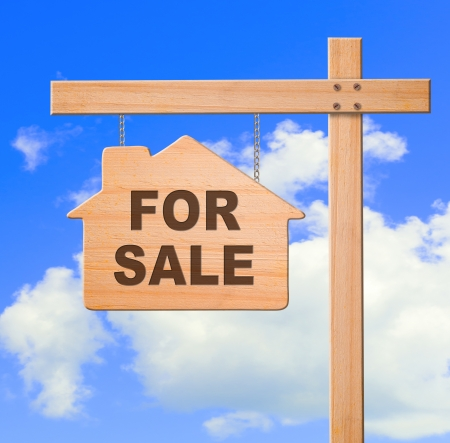 Real estate sign sky background, clipping path  photo