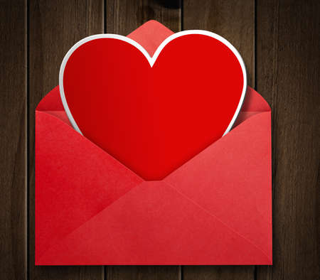 Red envelope with valentine heart  photo