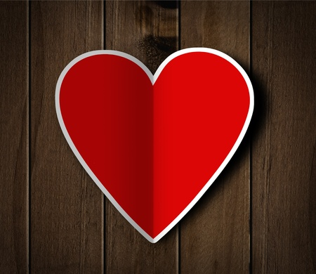 Valentine's day heart on wooden background. Stock Photo - 17698263