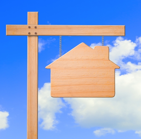 Real estate sign sky background, clipping path.  스톡 콘텐츠