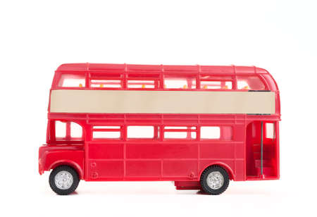 english bus: model of old english bus white background. Stock Photo