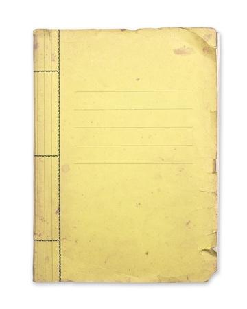Geïsoleerde oude gele map knippen weg.