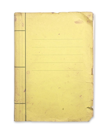 Old yellow folder isolated clipping path. Archivio Fotografico