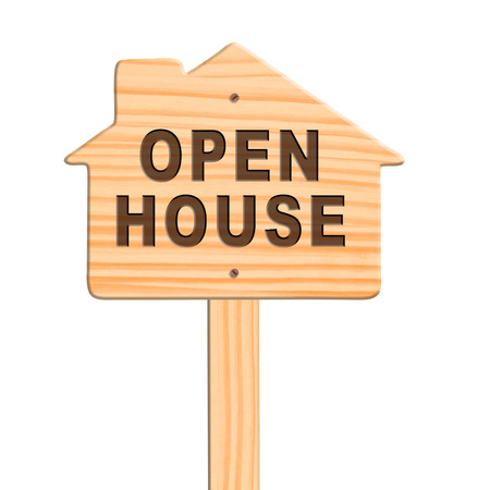 Open house sign isolated in white background, clipping path. photo