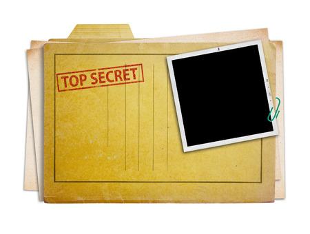 top secret map met oude foto, geïsoleerde, het knippen weg.