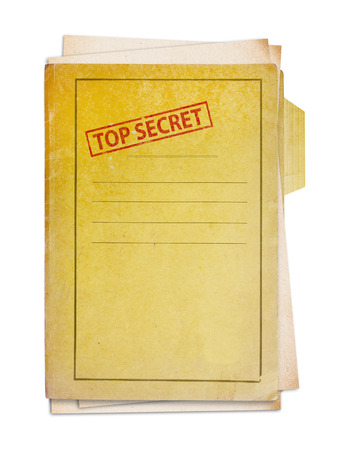 Old folder with top secret stamp Stock Photo