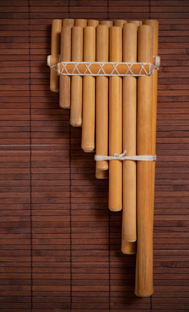 andean: Andean pan flute from Bolivia. Stock Photo