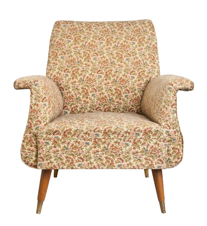 Vintage armchair on white background, clipping path.