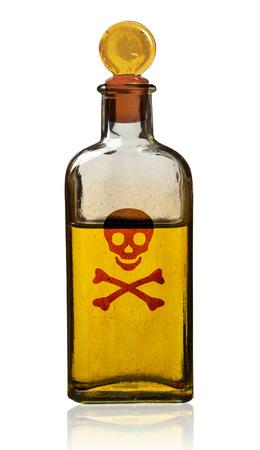 poison bottle: Botella de veneno pasado de moda, aislado, camino de recortes. Foto de archivo