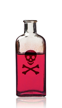 poison bottle: Old fashioned poison bottle, isolated, clipping path. Stock Photo