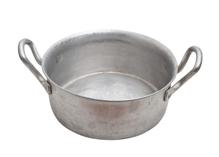 aluminium: Aluminium pot isolated, clipping path. Stock Photo