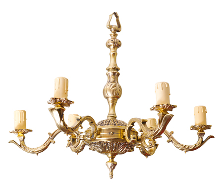 chandelier isolated: Vintage chandelier isolated on white background, clipping path.