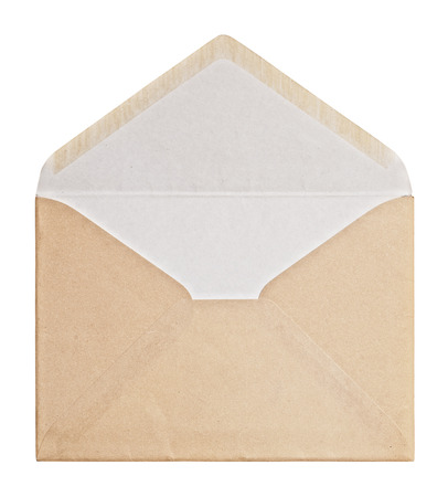 envelopes: Brown Envelope  on white background, clipping path.