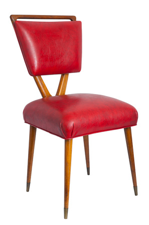 vintage chair: Red chair isoated with clipping path. Stock Photo
