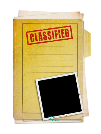 secret information: Old folder with top secret stamp and photo, clipping path.