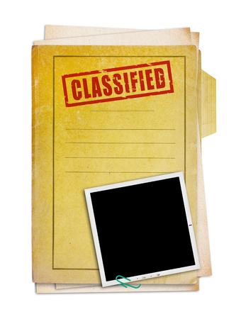 Stary folder z tajnej pieczęci i zdjęcie, strzyżenie ścieżka.