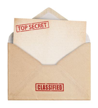 secret information: Brown Envelope  on white background with top secret stamp, clipping path.