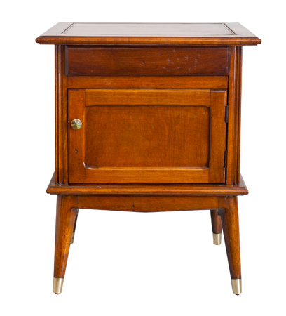 old furniture: Old bedside table isolated, with clipping path. Stock Photo