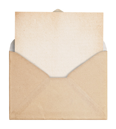 Vintage envelope with paper on white background, clipping path.