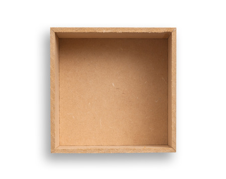 Empty box isolated, clipping path excludes the shadow. Stock Photo