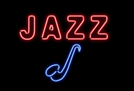 Gloeiende neon jazz te zingen op een zwarte achtergrond