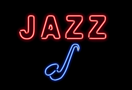jazz: Glowing neon jazz sing on black background