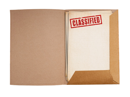 classified: Classified folder isolated with clippig path. Stock Photo