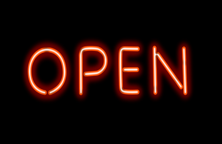 open sign: Glowing neon sing on a black background.