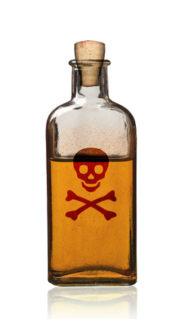 Old fashioned poison bottle, isolated, clipping path. Banco de Imagens