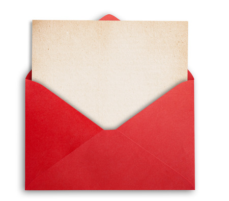 note card: Rede envelope with okd paper, isolated, clippping path.
