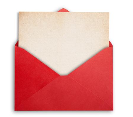 papier a lettre: Rede enveloppe avec du papier OKD, isolé, chemin clippping. Banque d'images