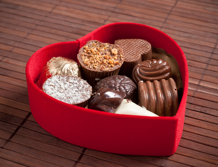 fancy sweet box: Heart shaped box with chocolates.