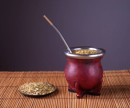 mate infusion: Traditional Argentinian mate, copy space. Stock Photo