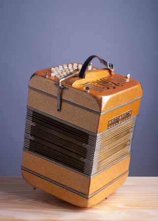aerophone: Bandoneon accordion, traditional musical instrument.