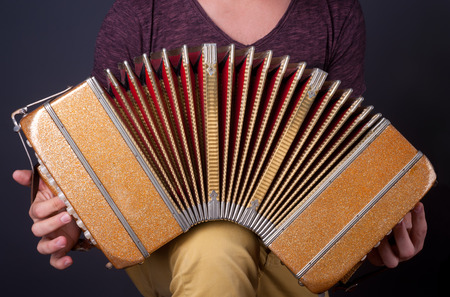 bandoneon: Playing the bandoneon, traditional tango instrument, Argentina. Stock Photo