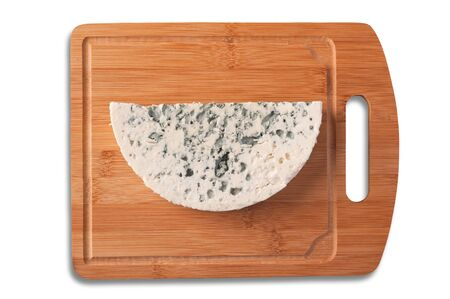 Roquefort cheese slice, top view. Clipping path. 스톡 콘텐츠