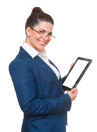 topicality: Business woman with glasses using tablet, white background.