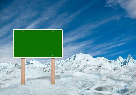 Green sign in winter landscape. 3d rendering Standard-Bild