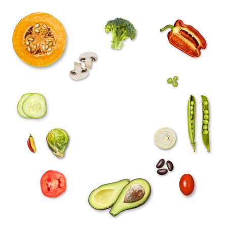 top view vegetables, white background