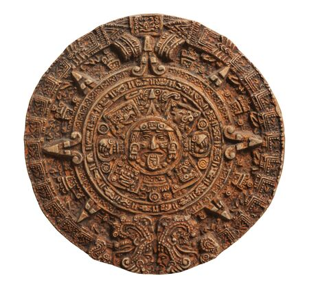 Mayan calendar isolated on white backround. 스톡 콘텐츠