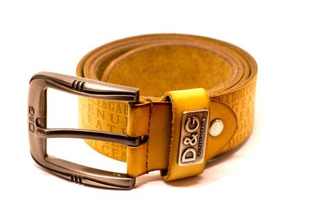 strap leather logo Dolce Gabana isolated on white background Editorial
