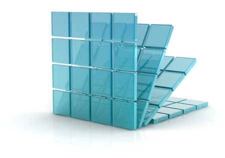 glass cubes on white background. photo