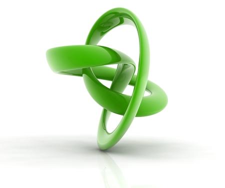 green metallic curve surface shape on white backgroun.