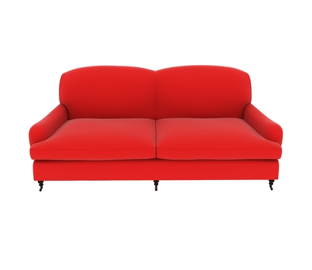 red sofa: red cloth sofa on white background.