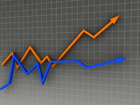 tabulation: 3D arrow sign on gray chart. Stock Photo