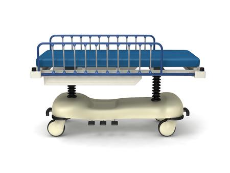 backgruond: medical sickbed on white backgruond.
